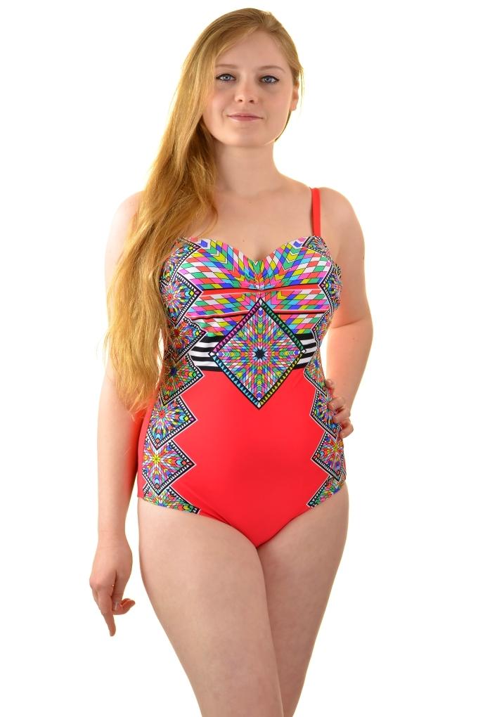 7d20415b4b21b9 Jednoczęściowy strój kąpielowy Self 8030r8 v2 czerwony - Biustyna