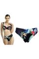 Dalia Anak czarny-kwiaty figi midi do stroju kąpielowego