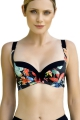 Dalia Anak K26 czarny-kwiaty biustonosz miękki do stroju kąpielowego