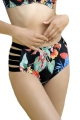 Dalia Anak czarny-kwiaty figi maxi z paskami do stroju kąpielowego
