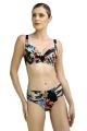 Dalia Anak czarny-kwiaty figi mini do stroju kąpielowego