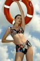 Dalia Anak K27 czarny-kwiaty biustonosz usztywniany do stroju kąpielowego