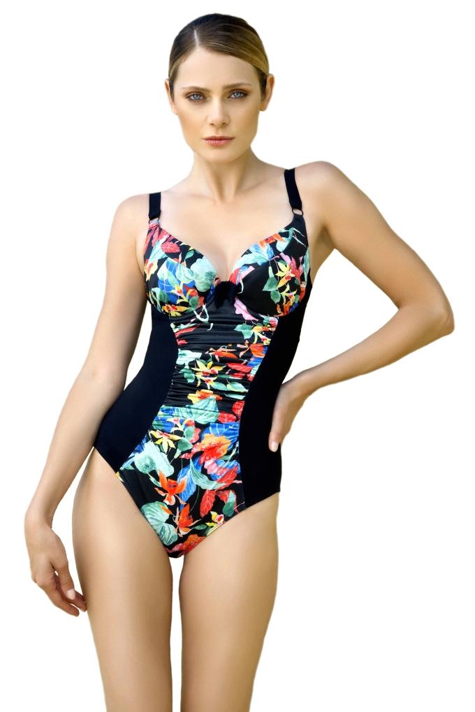 d70fb989cb3286 Strój kąpielowy jednoczęściowy Dalia anak k24 czarny-kwiaty - Biustyna