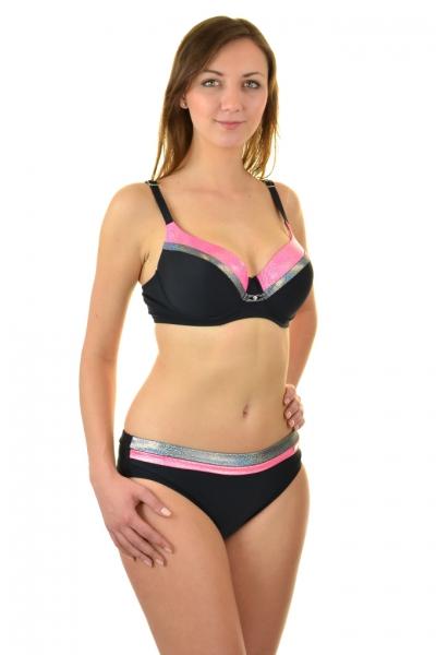 Gabbiano Esther róż-brokat-czarny strój kąpielowy komplet