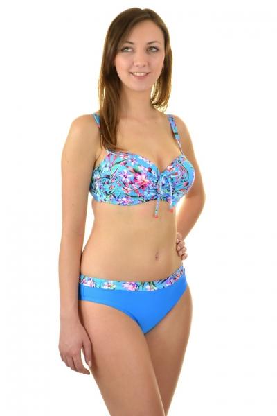Self 730G19 niebieski-kwiaty strój kąpielowy dwuczęściowy komplet