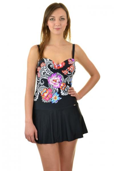 Self 8900 I19 czarny-kwiaty-zawijasy strój kąpielowy jednoczęściowy z sukienką