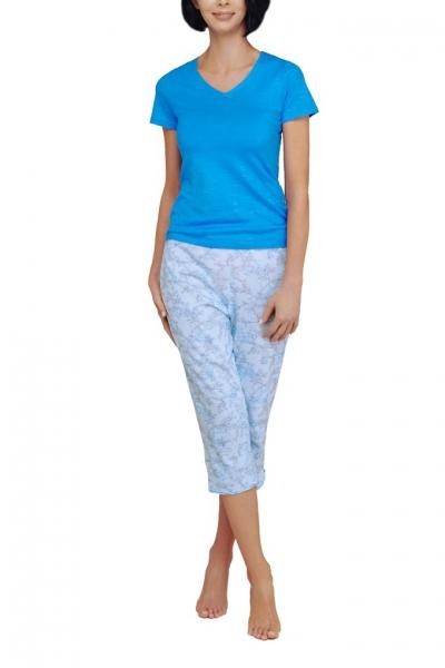 Cybele Naturana piżama 7-810346 202 niebieska-kwiaty spodnie