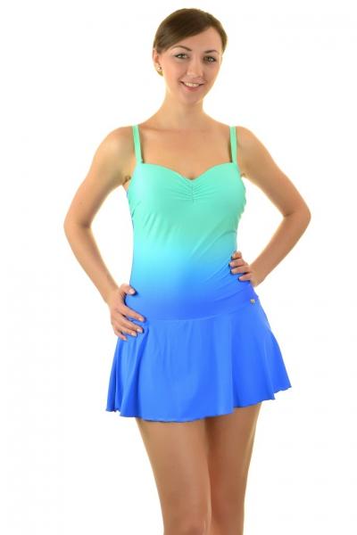 Self 8900F19 V206 zieleń-niebieski-ombre strój kąpielowy jednoczęściowy z sukienką
