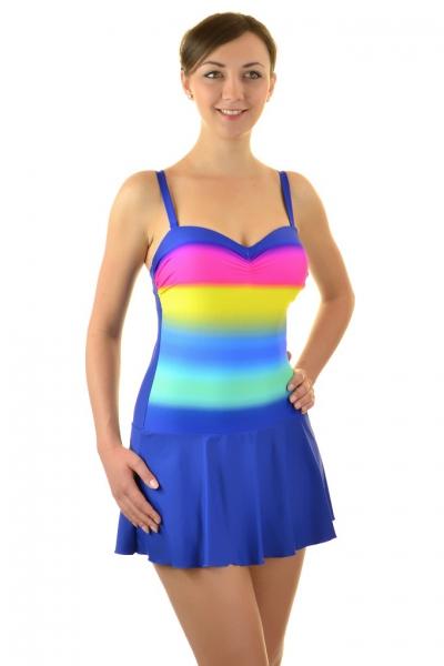 Self 8900F19 V205 granat-tęcza-ombre strój kąpielowy jednoczęściowy z sukienką