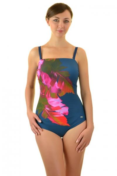 Self 1003V19 V17 stalowo- różowy pióra strój kąpielowy jednoczęściowy