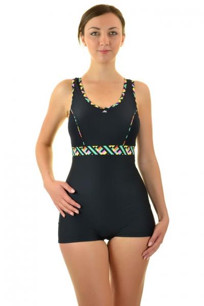 Self 32BSZ V4 czarny strój kąpielowy basenowy z szortami jednoczęściowy