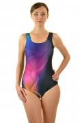 Moraj strój kąpielowy basenowy jednoczęściowy spirale-czarny-róż