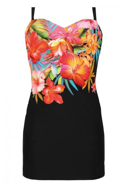 Self 1035J19 V19 czarny kwiaty strój kąpielowy jednoczęściowy z sukienką