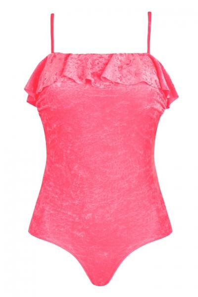 Self 1016A19 2 różowy-plusz strój kąpielowy jednoczęściowy