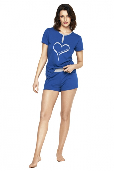 Cybele Naturana piżama damska niebieska-serce 7-810371 238