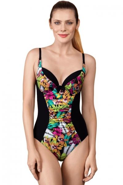 Dalia Faye 1cz K27 czarny kwiaty jednoczęsciowy strój kąpielowy
