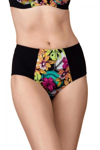 Dalia Faye czarne kwiaty figi maxi do stroju kąpielowego