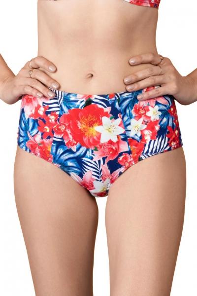 Dalia Simone kwiaty niebiesko-czerwone figi maxi do stroju kąpielowego