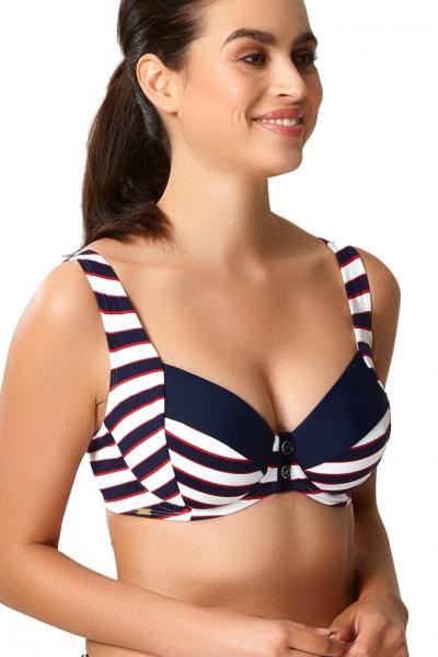 Panache Lucille navy stripe soft balkonette biustonosz do stroju kąpielowego
