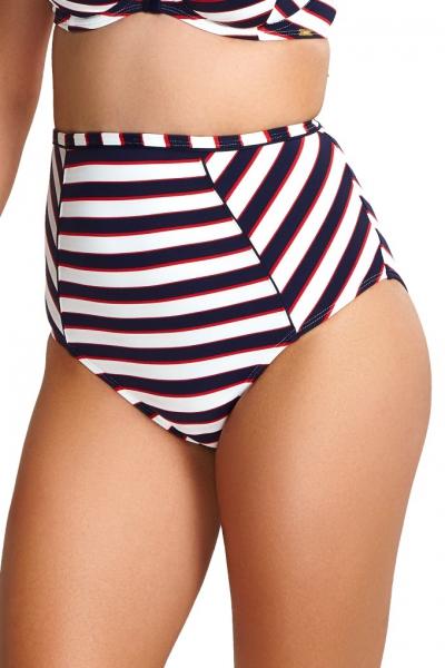 Panache Lucille navy stripe figi wysokie do stroju kąpielowego