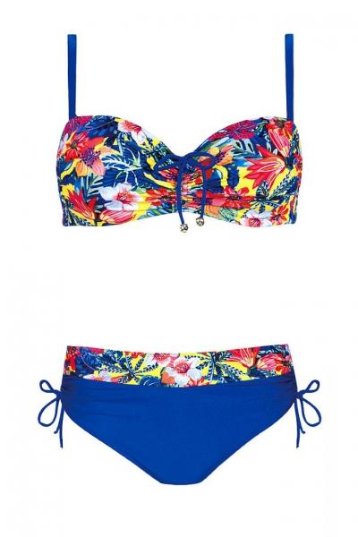 Self 730I20 2 niebieski-kwiaty strój kąpielowy dwuczęściowy komplet
