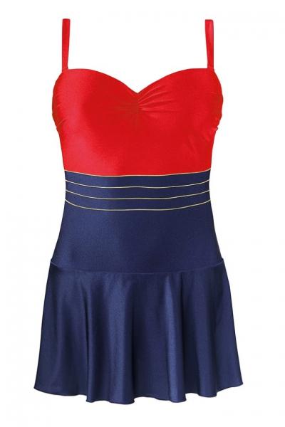 Self 8900X 50 granat-czerwień strój kąpielowy jednoczęściowy z sukienką