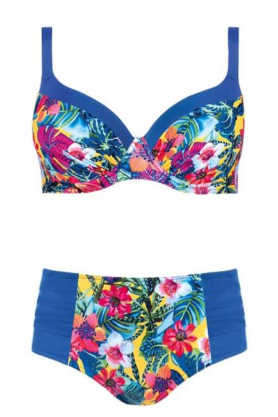 Self 940I20 2 niebieski-kwiaty strój kąpielowy dwuczęściowy komplet